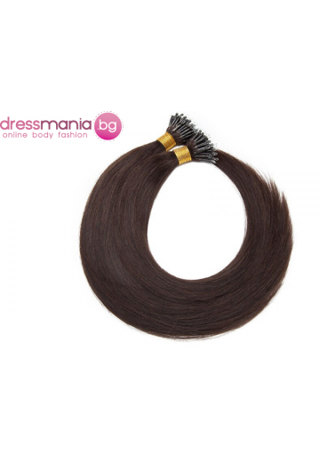 Естествена коса за удължаване с микро ринг в тъмно кафяво