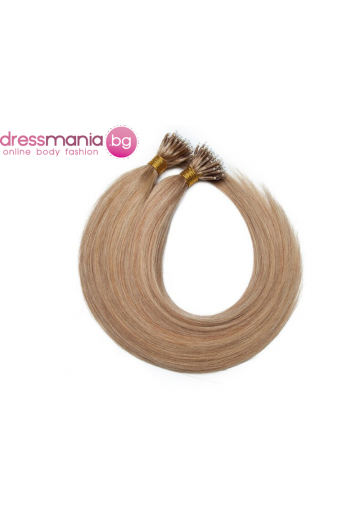 Естествена коса за удължаване с микро ринг в тъмно русо