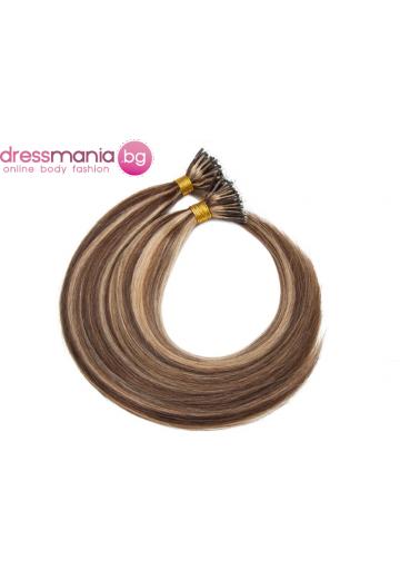 Естествена коса за удължаване с микро ринг в медиум кафяво и тъмно русо