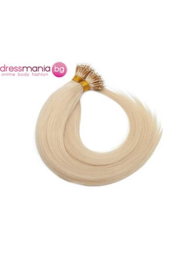 Естествена коса за удължаване с микро ринг в платинено русо