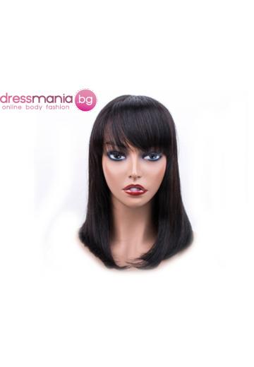 Естествена дамска перука в натурален кафяв цвят