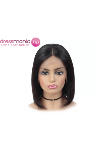 Дамска перука от естествен косъм в тъмнокафяв цвят