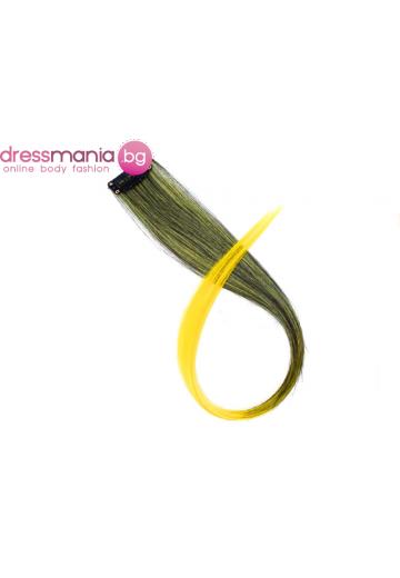 Кичур за удължаване от синтетичен косъм цвят микс жълт #T14