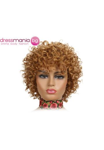 Къса къдрава перука от естествен косъм  #27