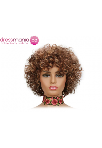 Къса къдрава перука от естествен косъм  DX3147