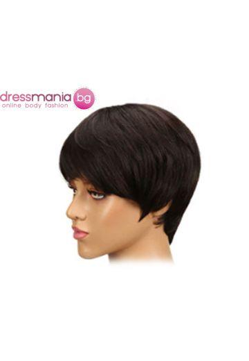 Дамска перука къса от естествена коса #1