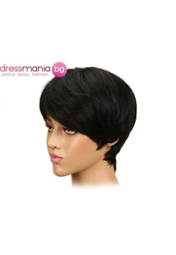 Дамска перука къса от естествена коса #1B