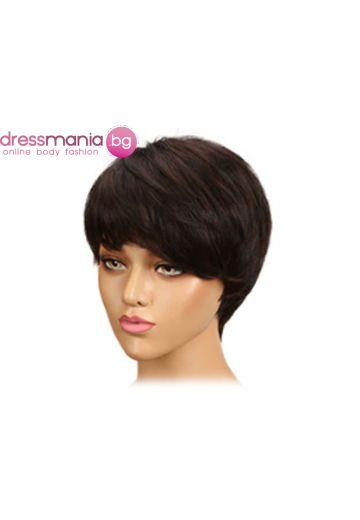 Дамска перука къса от естествена коса #FW233
