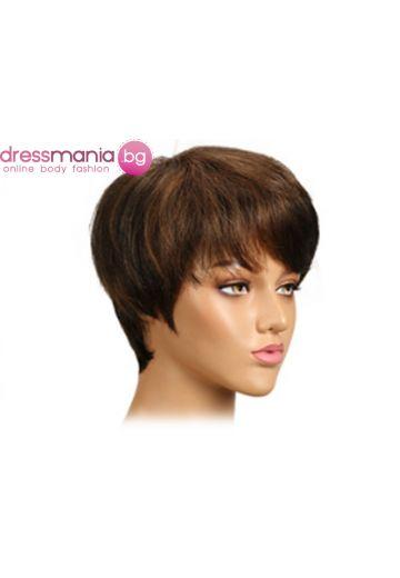 Дамска перука къса от естествена коса #P1B30
