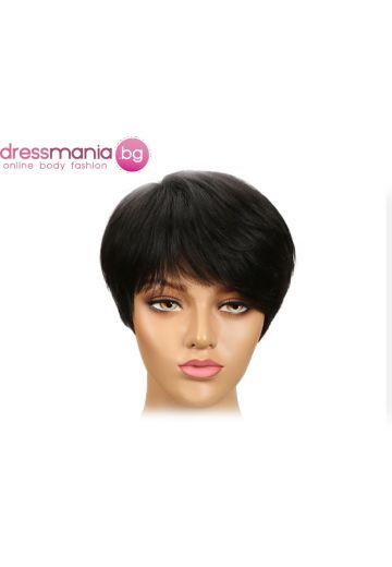 Дамска перука къса от естествена коса #P430