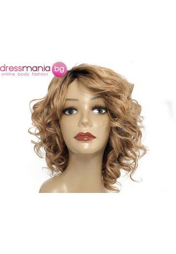 Дамска перука с къдрици от естествена коса #T1B27