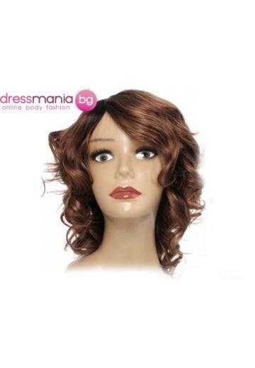 Дамска перука с къдрици от естествена коса #T1B30