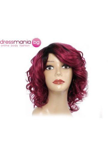 Дамска перука с къдрици от естествена коса #BURG
