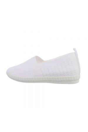 Удобни дамски обувки бял ластичен текстил