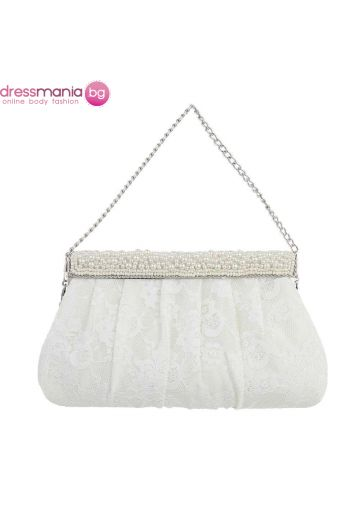 Дантелена чанта за сватба с перлена декорация
