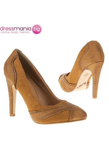 Камел елегантни обувки кожа и набук