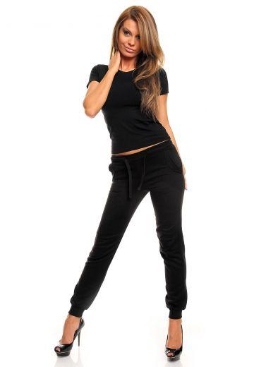 Дамска спортна долница плътен памук - черно