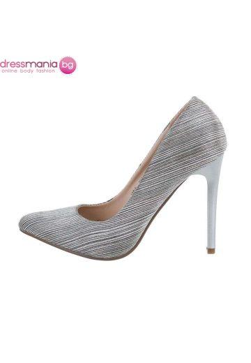 Обувки на висок ток от релефна материя в сребрист цвят
