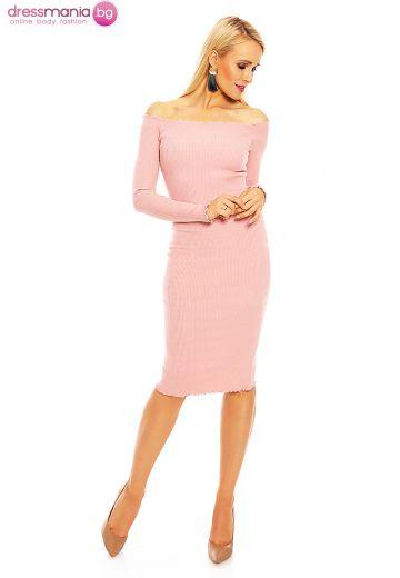 Рокля рипс по тялото  Emma Ashley в розово