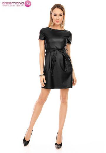 Черна кожена рокля LC