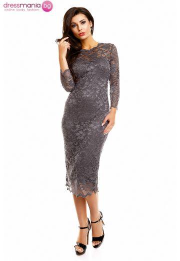 Дантелена рокля Mayaadi в сиво