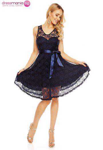 Официална дантелена рокля в тъмносиньо