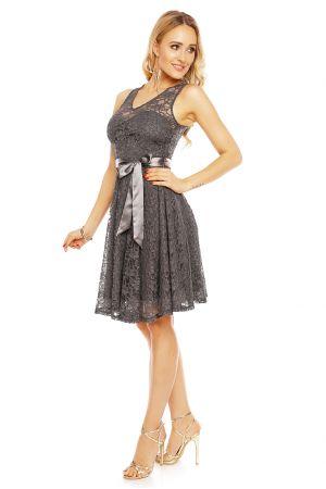 Официална дантелена рокля в сиво
