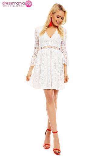 Бяла дантелена рокля Lilie Rose