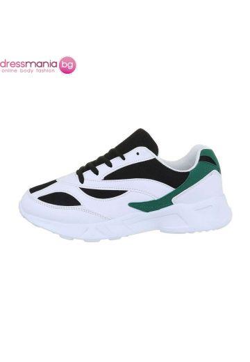 Спортни мъжки обувки в бяло, черно и зелено