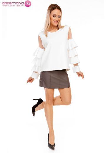 Атрактивна бяла блуза Luzabelle