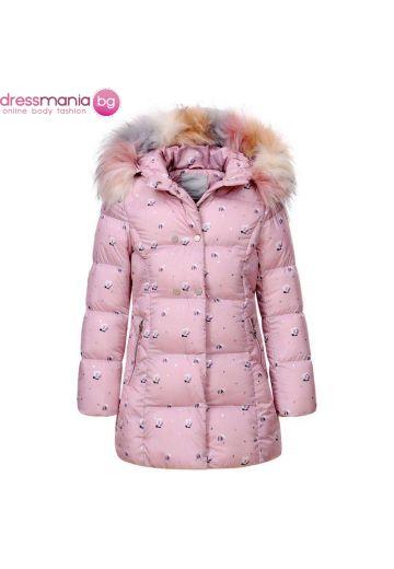 Детско зимно яке за момиче в розово с флорален принт