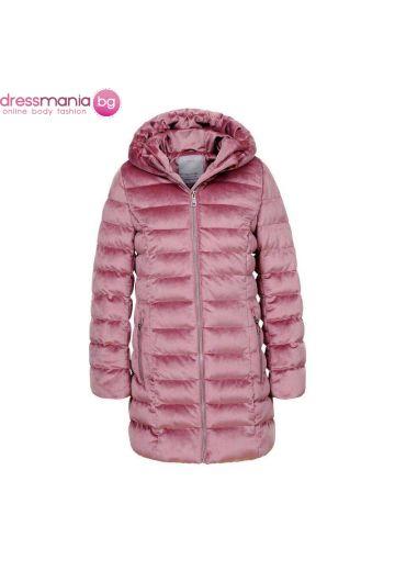Детско зимно яке за момиче в розово ефект плюш