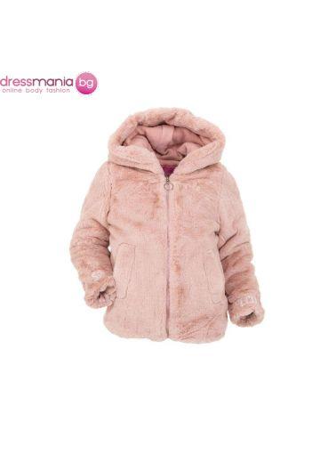 Пухкаво детско палтенце Nature за момиче в розово
