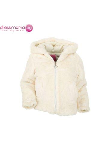 Пухкаво детско палтенце Nature за момиче в бежово