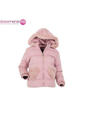 Детско яке с качулка за момиче в цвят розе