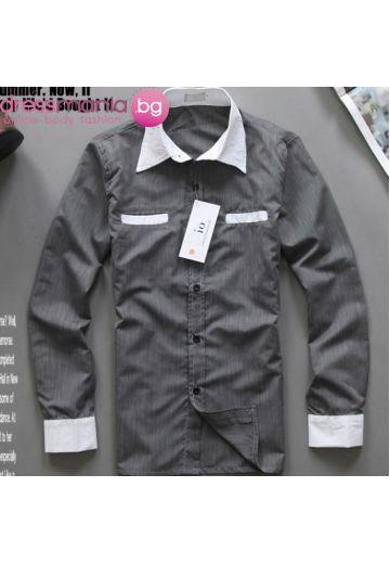 Мъжка риза с бяла яка