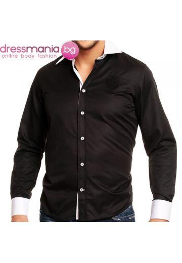 Черна риза Carisma с бял маншет и яка