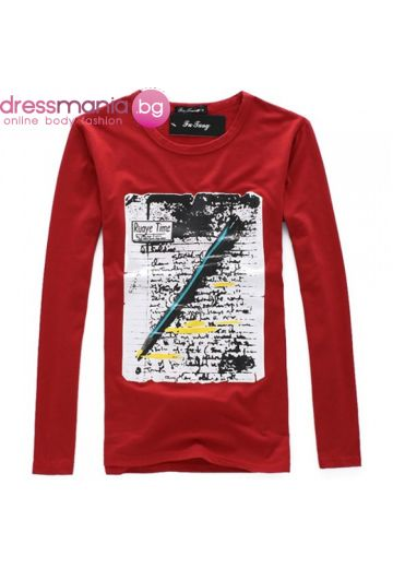 Червена блуза принт писмо