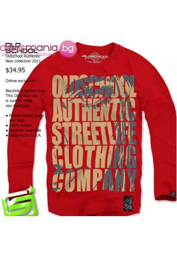 Червена блуза с принт Old School