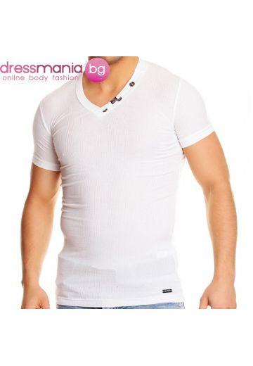 Бяла тениска рипс с остро деколте