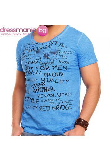 Небесно синя тениска с принт