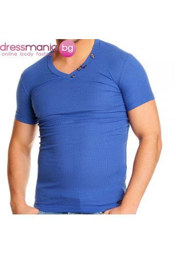 Синя тениска рипс с остро деколте