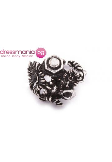 Дамски пръстен флорални мотиви в сребристо