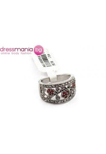 Модерен пръстен с цветни кристали Dekolte