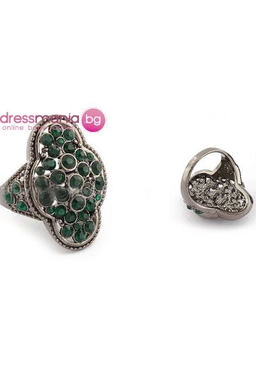 Пръстен със зелени кристали Dekolte