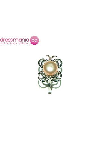 Елегантен дамски пръстен бледорозова перла