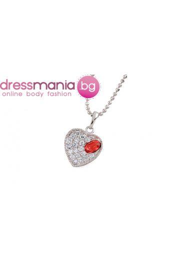 Изискано колие - сърце с червен австрийски кристал