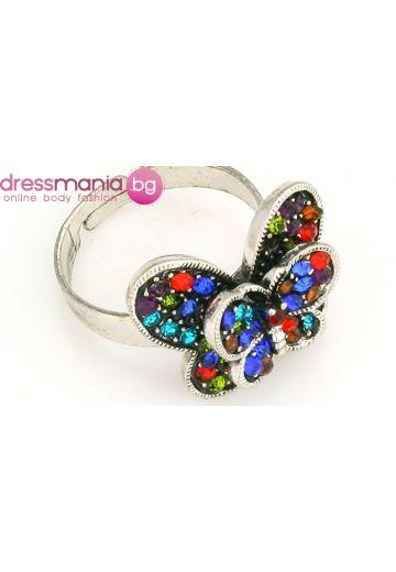 Пръстен цветна пеперуда с цветни кристали Dekolte