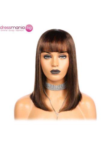 Права дамска перука от естествен косъм в натурално кафяво 25-35 см
