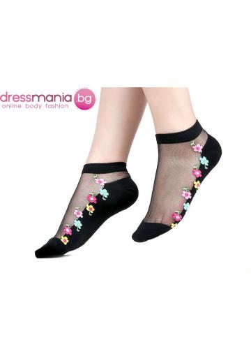 Копринени дамски чорапи с декоративена флорална бродерия